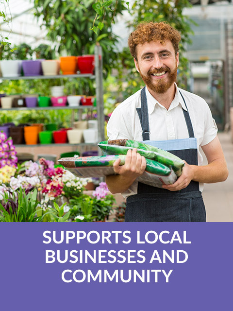 Supports local businesses and community